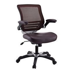 LexMod - Edge Vinyl Office Chair in Brown - Welcome to a new era in functional comfort. The Edge office chair combines old time charm with cutting edge ergonomics to deliver one comprehensive seating experience. Every feature imaginable in a chair is available as soon as you sit down. This is a chair that you can conform to behave exactly how you need it.