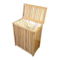 Proman Products - Proman Products Horizon Laundry Hamper in Bamboo - Laundry Hamper in Bamboo belongs to Horizon Collection by Proman Products Horizon laundry hamper, made of solid bamboo in natural carbonized color. Comes with a canves bag. Laundry Hamper (1), Laundry Bag (1)