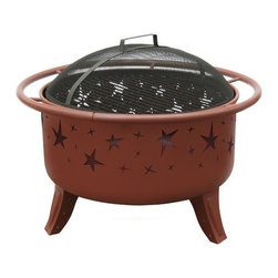 "Landmann - Patio Lights Fire Pit - The Patio Lights firepit has unique and stylish cutouts on the firebowl that creates an incredible ambiance at night! The included cooking grate can tranform your firepit into a portable grill, great for tailgating and camping sites. Features: -Unique and stylish cutouts on Firebowl.-Thick 1'' safety ring/handle for easy transport.-Decorative, sculpted legs add style while providing stability and support.-Includes full size cooking grate.-Includes large spark screen to keep the embers contained.-Includes poker.-Sturdy steel construction designed with easy assembly.-Collection: Patio Lights.-Distressed: No.-Gloss Finish: No.-Material: Steel.-Hardware Material: Steel.-Tabletop Fireplace: No.-Fuel Type: Wood or Charcoal.-Gas Conversion Feature: No.-Plug In: No.-Fire Bowl Filler Accommodated: Can be used with charcoal for grilling.-Fire Bowl Filler Included: No.-Folding: No.-Heat Resistant Coating: Yes.-UV Protected: No.-Rust Resistant: No.-Fade Resistant: No.-Suitable For Use On Wooden Surface: No.-Log Grate Included: No.-Spark Screen Included: Yes -Spark Screen Material: Steel..-Snuffer Included: No.-Fire Poker Included: Yes.-Safety Ring: Yes.-Built in Cooking Area: Yes -Cooking Grate Included: Yes.-Adjustable Cooking Grate: No..-Handles: Yes.-Portable: Yes.-Cover Included: No.-Swatch Available: No.-Commercial Use: No.-Recycled Content: No.-Eco-Friendly: No.Dimensions: -Burn Surface Area: 397 sq. in..-Overall Height - Top to Bottom: 23.5"".-Overall Width - Side to Side: 29.5"".-Overall Depth - Front to Back: 29.5"".-Fire Bowl Height: 12.5"".-Fire Bowl Width: 23.5"".-Fire Bowl Depth: 23.5"".-Spark Screen: -Spark Screen Height - Top to Bottom: 6"".-Spark Screen Width - Side to Side: 22.5"".-Spark Screen Depth - Front to Back: 22.5""..-Safety Ring Diameter: 1"".-Distance Between Safety Ring And Fire Bowl: 1.75"".-Overall Product Weight: 24.2 lbs.Assembly: -Assembly Required: Yes.-Tools Needed: Phillips screwdriver and adjustable wrench.-Additional Parts Required: No.Warranty: -Product Warranty: 90 Days."