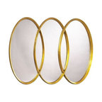 Used Gold Three Ring Mirror - This beautiful gold three ring mirror will add glamor to any room! Would make for a stylish and unconventional addition to hang above a bathroom sink.