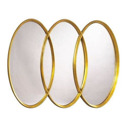 Pre-owned Gold Three Ring Mirror - This beautiful gold three ring mirror will add glamor to any room! Would make for a stylish and unconventional addition to hang above a bathroom sink.