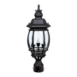 Capital Lighting - Capital Lighting French Country Traditional Outdoor Post Lantern X-KB5689 - From the French Country Collection, this charming Capital Lighting outdoor post lantern features a classic design with traditional details and candelabra lights. Your choice of either a Black or Rust finish works to accentuate the traditional details, including the large finial and classic lantern shape. Clear beveled glass panels compliment the classic detailing.