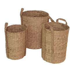 Home Decorators Collection - Arturo Baskets - Set of 3 - Use our set of three Arturo Baskets to organize supplies in your kitchen, bath or office - or create an intriguing centerpiece on your dining room table or console. These natural fiber woven baskets will complement contemporary and transitional decorating concepts. Woven of water hyacinth. Handles for ease of carrying. Indoor use only.