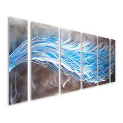 Pure Art - Optical Reckoning Six-Piece Handmade Metal Wall Art Hanging - Put the power of blue to work for you in your home or office decor! That is just the inspiration for the Optical Reckoning Six Piece Handmade Metal Wall Art Hanging, which features six individual panels that are brought to life by bundles of blue and silver color on a field of swirling charcoal.  Add this stylish abstract wall hanging to any space where you wish to bring excitement and drama, from the den to the bedroom and beyond. Also ideal for hanging in the office or commercial setting.  Handcrafted and handpainted metal wall art is jumbo sized to create a huge visual impactMade with top grade aluminum material and handcrafted with the use of special colors, it is a very appealing piece that sticks out with its genuine glow. Easy to hang and clean.