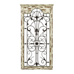Benzara - Magical Wooded Gate Style Wall Plaque - This plaque is made with a unique wooded gate styled floral designs and scrolling ironwork that is truly magical. The plaque is made into the shape of an old window, adding a beautiful and rustic quality anywhere you hang it. Ideally hung in the backyard garden or patio, but this set is also great along the hallway or along the staircase.