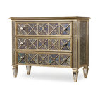 3-Drawer Diamond Front Ant Mirror and Gold Chest