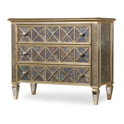 Hooker Furniture - 3-Drawer Diamond Front Ant Mirror and Gold Chest - The diamonds on this three-drawer chest have cut, clarity and color, thanks to hardwoods finished in gold leaf, antiqued mirror panels and faceted diamond pulls. And you can use a versatile piece like this in your bedroom, living room, entry hall, office — or anywhere you need sparkling style.