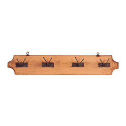 Rustic Pine & Wrought Iron Coat Rack - Very traditional, hanging coat/hat rack with Solid wood construction and solid iron hooks.