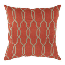 """Surya - Square Linen Pillow COM-005 - 18"""" x 18"""" - The lovely trellis design paired with bold, expressive rust and beige coloring allows this pillow to immediately become the focal point to your room. This pillow made in India provides a reliable and affordable solution to updating your home's decor."""