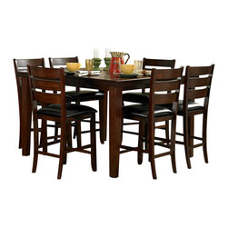 Homelegance - Homelegance Ameillia 8 Piece Extension Square Counter Height Table Set - The solid, clean lines of the Arts & Crafts movement are interpreted from modern times in the Ameillia Collection. Substantial tapered legs and the birch veneer, in a dark oak finish, complement this simple and refined dining option.