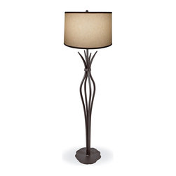 Mathews & Company - Wrought Iron Milan Floor Lamp - Our Traditional, Contemporary style wrought iron Milan Floor Lamp is a beautiful piece of hand-crafted home furniture. Lamp is UL Approved and pre-wired, all you have to do is add a light bulb and plug it in to start enjoying its warm light. Pictured in Natural Linen Drum shade and Black finish.