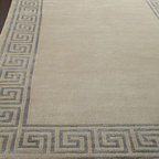 Horchow - Greek-Key Border Rug - A classic border design and soothing neutral color make this rug an ideal addition to any room. Semi-worsted New Zealand wool and viscose pile. Hand knotted in a Tibetan weave. Sizes are approximate. Imported. See our Rug Guide for tips on how....