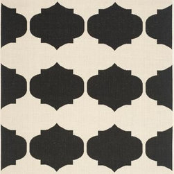 "Safavieh - Safavieh Courtyard CY6162-256 6'7"" x 9'6"" Beige, Black Rug - Safavieh's Courtyard collection was created for today's indoor/outdoor lifestyle. These beautiful but practical rugs take outdoor decorating to the next level with new designs in fashion-forward colors and patterns from classic to contemporary. Made in Turkey with enhanced polypropylene for extra durability, Courtyard rugs are pre-coordinated to work together in related spaces inside or outside the home."