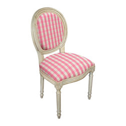 123 Creations Fabric Upholstered Furniture Pink Plaid Side Chairs - A pair of pink plaid side chairs would be darling in a living room or home office. I especially like to keep chairs in entryways and mudrooms for tying shoelaces.