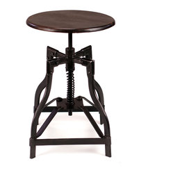 McClain | Industrial Style Swivel Stool - Add a little vintage vibe to your dining space with this cool stool. It's sturdily constructed with a rugged iron base and a solid wood seat that swivels 360 degrees.