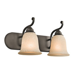Kichler Lighting - Kichler Lighting Camerena Traditional Wall Sconce X-ZO22454 - With its gorgeous bowl-shaped glass uplight and gently curled metal accents, the distinct Cameren&trade: collection illuminates any room with enduring warmth and comfort. This 2 light wall fixture features an Olde Bronze finish and White Scavo glass with Light Umber inside tint to convey a distinct old world aura in any space. May be installed with glass up or down.