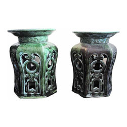 Chinese Garden Stools - Pair of handmade vintage ceramic garden stools with intricate filigree panels. Beautiful green finish. From Shiwan, China.