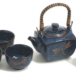 MySushiSet.com - Sapphire Dragonfly Japanese Tea Set - This charming Sapphire Dragonfly Tea Set with an authentic Japanese theme will be a lovely way to serve tea to your friends and makes a pretty addition to your sushi set.