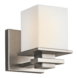 KICHLER - KICHLER Tully Transitional Wall Sconce X-PA94154 - From the Tully Collection, this Kichler Lighting wall sconce can be installed as an uplight or downlight. It features a contemporary silvery Antique Pewter finish paired with a cubic satin etched cased opal glass shade.