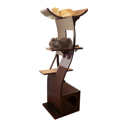 Lotus Cat Tower - As sleek and sinuous as a cat itself, this cat tower curves upward with a fluid, effortless grace and balance. Call it Zen or modern minimalism — your cat knows the only true word for it is feline. It comes with everything a cat seeks — scratch pad, hidden cubbyhole and several stories of lookout sleeping shelves.