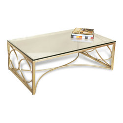 Kathy Kuo Home - Mackenzie Antique Champagne Silver Coffee Table - Every home needs a little antique silver leaf finish on at least one piece of furniture so why not make it one that everyone will see? This iron and glass coffee table adds some serious glamour to your room.