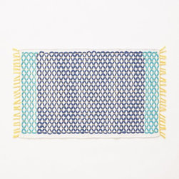 Netted Bath Mat, Turquoise - Dry your feet on this gorgeous patterned bath mat. It has all of my favorite colors!