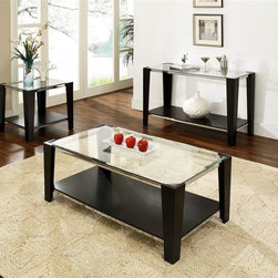 Steve Silver Co. - Newman Beveled Glass Occasional Table 3 Pc Se - Includes: 1 Cocktail table, 1 End table & 1 Sofa table. 8mm beveled tempered glass. Silver finished trim accents. Multi-step Espresso finish. Contemporary style. Corner block construction. Select hardwood solids material. Some assembly required. Cocktail table: 50 in. L x 26 in. W x 19 in. H (73.5 lbs.). End table: 26 in. L x 26 in. W x 24 in. H (46 lbs.). Sofa table: 50 in. W x 20 in. D x 30 in. H (64 lbs.)