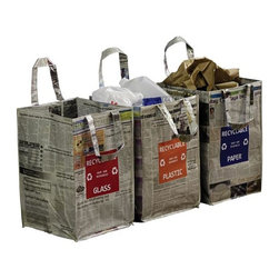 Home Decorators Collection - Newspaper Recycling Bag - The Newspaper Recycling Bag is crafted entirely of recycled newspaper and magazines sealed in recycled plastic. It's easy to clean and a great way to keep your recyclables organized. Place them in your kitchen or mudroom for a quick and easy way to be environmentally responsible. Made entirely of recycled materials. Available in three styles: paper, plastic and glass.