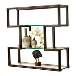One Up Wall Shelf - The geometric frame of the One Up Wall Shelf is finished in an attractive, aristocratic caf brown, but the effect of the shelf is wonderfully light, simply offering a surface and a frame for setting objects against your wall color a superb way to govern your decorative palette and emphasize the look of favorite treasures. Three glass shelves allow ample illumination.