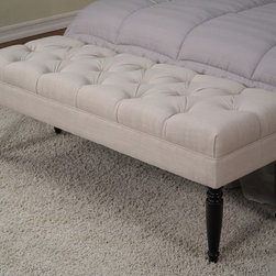 None - Claudia Diamond Wales Beach Tufted Bench - Spruce up your space with this Claudia tufted bench,with a handcrafted polyester upholstered diamond-tufted top and espresso legs. The bench looks beautiful at the foot of a bed or nestled into an entryway.