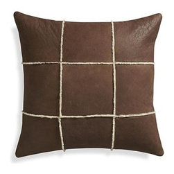 "Shearling 20"" Pillow with Down-Alternative Insert - Shearling tiles flip skin side up to flaunt its sleek leather surface, dyed golden brown. Wool side shows up in the seams, creating a softly textured, graphic grid. Luxurious pillow adds a sophisticated, natural accent, reversing to solid cream cotton."