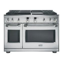 """GE Monogram 48"""" All Gas Professional Range with 4 Burners, Grill, and Griddle (N - Monogram Professional Ranges have smooth stainless steel edges, LED bullnose lighting, and large electronic control knobs for a modern aesthetic."""