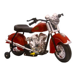 GiGGO Toys - GiGGO Toys Little Vintage Indian Motorcycle Battery Powered Riding Toy - 90312 - Shop for Tricycles and Riding Toys from Hayneedle.com! Based on the vintage 1948 model by Indian Motorcycle this Giggo Toys Little Vintage Indian Battery Powered Riding Toy will thrill your little rider. Available in a choice of colors and made of PVC this bike runs up to an hour on a charged battery - which is included - and even goes forward and reverse up to 2 miles per hour. Working headlight and rear lights plus an engine sound make for a great sensory experience! With the attention to detail and awesome old-style colors this little ride-on toy will provide hours of fun - make a little one happy today and order yours!About GiGGo ToysFocusing on bringing fun to kids all over the world GiGGo Toys is a new company with a fresh approach to the toy business. With a desire to encourage children of all ages to enjoy life play safely outdoors and be kind to each other GiGGo works hard to make sure they create the very best toys for their line of products. Offering exciting new Ride-On Toys as well as the developing story aid Giggo the Elephant and his friends GiGGo uses only the finest quality materials when creating their toys. GiGGo also believes in supporting important causes that help the world around them as well.