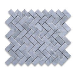 "Stone Center Corp - Carrara Marble Herringbone Mosaic Tile 1 x 2 Polished - Carrara white marble 1"" x 2"" pieces mounted on 12"" x 12"" sturdy mesh tile sheet"