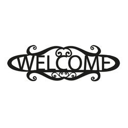 Rustica Ornamentals - 24 Inch Welcome Sign, Wall Art, House Numbers, House Sign, Metal, name sign - This handcrafted attractive Welcome Sign will become a decorative favorite for any home.