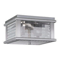 Murray Feiss - Murray Feiss Mission Lodge Outdoor Lighting Fixture - Shown in picture: Mission Lodge Outdoor Lantern in Brushed Aluminum finish with Clear checked glass