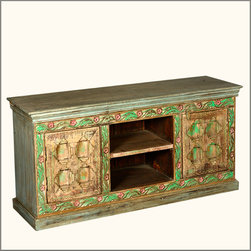 Hand Carved Painted Reclaimed Wood TV Media Console Cabinet Furniture -