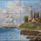 The Tile Mural Store (USA) - Tile Mural - A Passing Voyager - Dl - Kitchen Backsplash Ideas - This beautiful artwork by Dennis Lewan has been digitally reproduced for tiles and depicts a lighthouse by the sea with sailboats in the distance  Our lighthouse tile murals and nautical themed decorative tiles are perfect as part of your kitchen backsplash tile project or your tub and shower surround bathroom tile project. Lighthouse images on tiles add a unique element to your tiling project and are a great kitchen backsplash idea. Use a lighthouse scene tile mural for a wall tile project in any room in your home where you want to add interest to a plain field of wall tile.