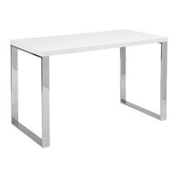 Soren Desk - The appeal of our Soren Desk is in the simplicity of its design. Held up by a sturdy chromed stainless steel base, its lacquer top has a beautiful high-gloss finish that complements any room.