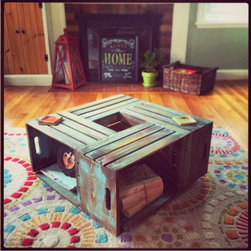 Wine Crate Coffee Table // Rustic Coffee Table // Coffee Table // Table - This item is currently in a unfinished form but will be completed based on your request. Whitewash, Stained, painted, or Unfinished as per your request.