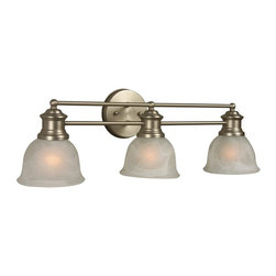 Craftmade - Lite-Rail Series, 3 Light in Brushed Nickel - Bulb Type: A-Type. Max Watt: 3x100W. Glass Finish: Alabaster. Length: 25.5 in.. Extension: 8.0 in.
