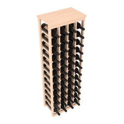"48 Bottle Kitchen Wine Rack in Pine with Satin Finish - Store 4 complete cases of wine in less than 20"" of wall space. Just over 4 feet tall, this narrow wine rack fits perfectly in hallways, closets and other ""catch-all"" spaces in your home or den. The solid wood top serves as a shelf or table top for added convenience and storage of nick-nacks."