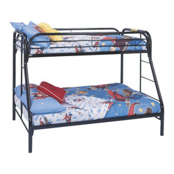 Monarch Specialties - Monarch Specialties I 2231K Black Metal Twin / Full Bunk Bed - The fun space saving design of this black metal twin/full bunk bed will make a wonderful addition to your child's bedroom. Bottom bunk is a full sized bed with twin size bed for the top bunk. Convenient built in ladders on each side leads up to the top bunk which is surrounded with full length guard rails for extra piece of mind. Perfect for kids sharing a room or for the child with frequent slumber parties! Bunk Bed (1)