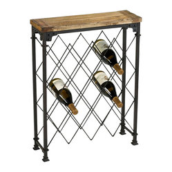 Cyan - Hudson Wine Rack - When you can't make it to a vineyard, you'll always have this easily accessible wine rack. It features convenient wine bottle storage below, plus a wood plank on top,  serving as a tasting station.
