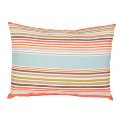 "Jaipur Rugs - Blue/Pink color polyester od deck chair stripe poly fill pillow 13""x18"" - These fashion forward pillows, in trellis, stripes and whimsical patterns are for both indoor and outdoor use."