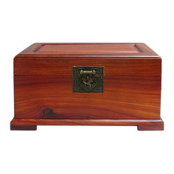 Golden Lotus - Chinese Huali Rosewood Accessory Jewelry Box - This jewelry accessory chest is made of huali wood ( one of the yellow rosewood). The natural yellowish brown color and the natural smooth wood grain should the sophistication of the craftsmanship.