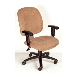 BOSS Chair - Task Chair w Adjustable Arm in Chestnut - Mid-back styling with firm lumbar support. Elegantly upholstered in Chenille fabric. Large 27 in. nylon base for greater stability. Hooded double wheel casters. Pneumatic gas lift seat height adjustment. Adjustable tilt tension control. Arm Height: 25 - 31 in. H. Seat Size: 20.5 in. W x 22 in. D. Seat Height: 17 - 20.5 in. H. Overall Size: 26 in. W x 27 in. D x 37 - 40 in. H