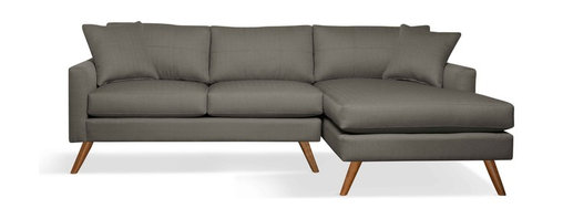 """True Modern - Dane Sofa with Chaise - """"Chaise"""" into something a little more comfortable with this sofa. It has a slightly smaller scale making it a good fit if you live in a condo or apartment — or want to place it in your den."""
