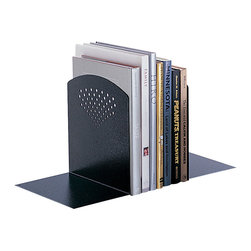 """Safco - Jumbo Bookends - Black - How does it end? Contemporary styling in an oversized design, these bookends are constructed of heavy-gauge steel to support large books, binders or directories. Available in Black or Gray powder coat finish.; Features: Material: Steel; Color: Black; Finished Product Weight: 6 lbs.; Assembly Required: No; Limited Lifetime Warranty; Dimensions: 10""""W x 6 1/2""""D x 10 1/2""""H"""