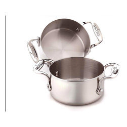 All Clad - All Clad SS 2 pc. Soup/Souffle Ramekins Set - Timeless design, outstanding performance, effortless cleaning and lifetime durability come together to make the Stainless Collection cookware  All-Clads most popular. Featuring innovative bonded construction combining an interior layer of aluminum for even heating and an 18/10 stainless cooking surface for optimum culinary performance, All-Clad Stainless cookware is a classic expression of ideal form and function. With its stainless steel magnetic exterior this collection is compatible with all stovetops, including induction